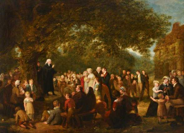John Wesley Preaching in Ireland, 1789, attributed to Maria Spilsbury